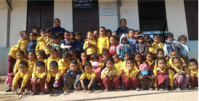 Excited Students at Nepal's New School